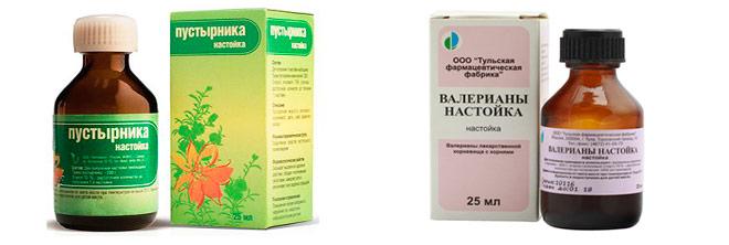 Применяются препараты растительного и нерастительного происхождения: настойки пустырника, валерианы, фенибут